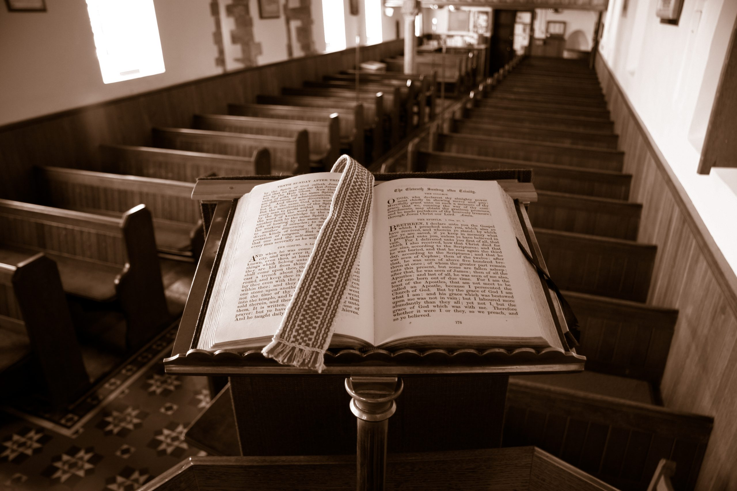 Bible Sitting on a Pulpit