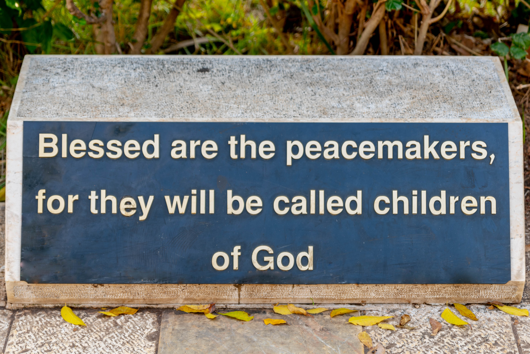 "Sign Reading ""Blessed are the Peacemakers"""