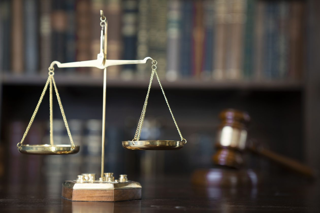 Court Room Scales of Justice and Gavel