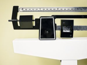 Weight scale at doctor's office