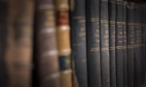 Row of Old Bibles on Shelf